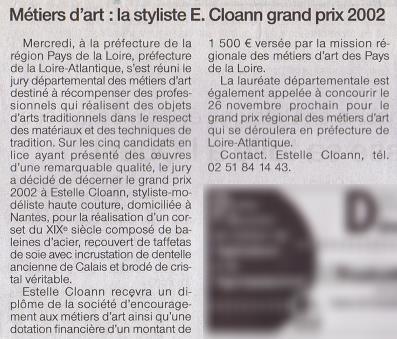 Article de presse - Ouest France - édition Nantes - Prix départemental des métiers d'art de la SEMA