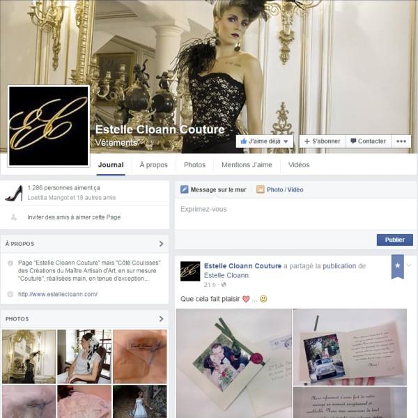 Réseau social Facebook Page des coulisses (Backstage) de la marque Estelle Cloann Couture