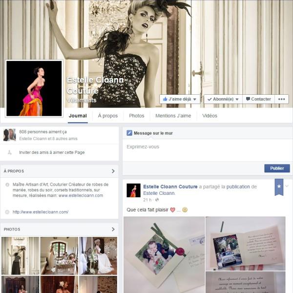 Réseau social Facebook Page vitrine (Frontstage) de la marque Estelle Cloann Couture